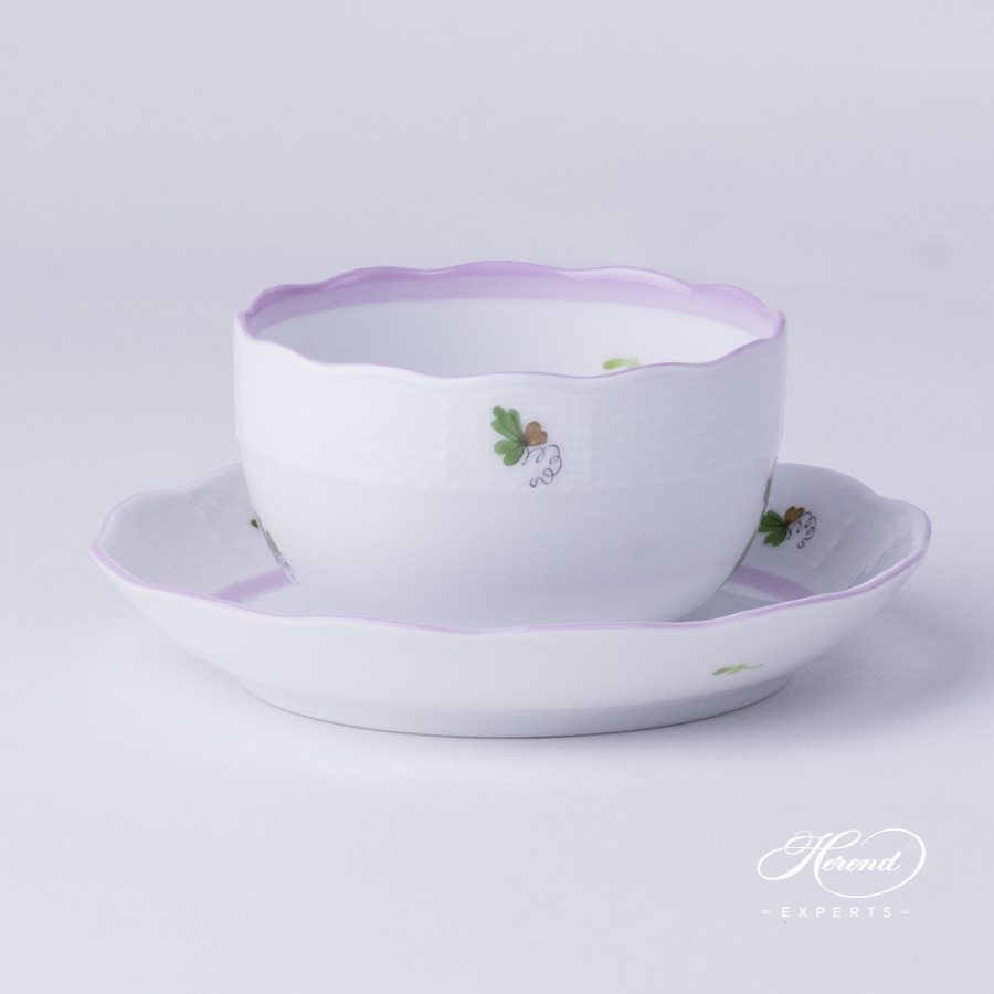 Tea Cup with Saucer 724-0-00 VRHL Vienna Rose Lilac pattern - Herend porcelain hand painted.