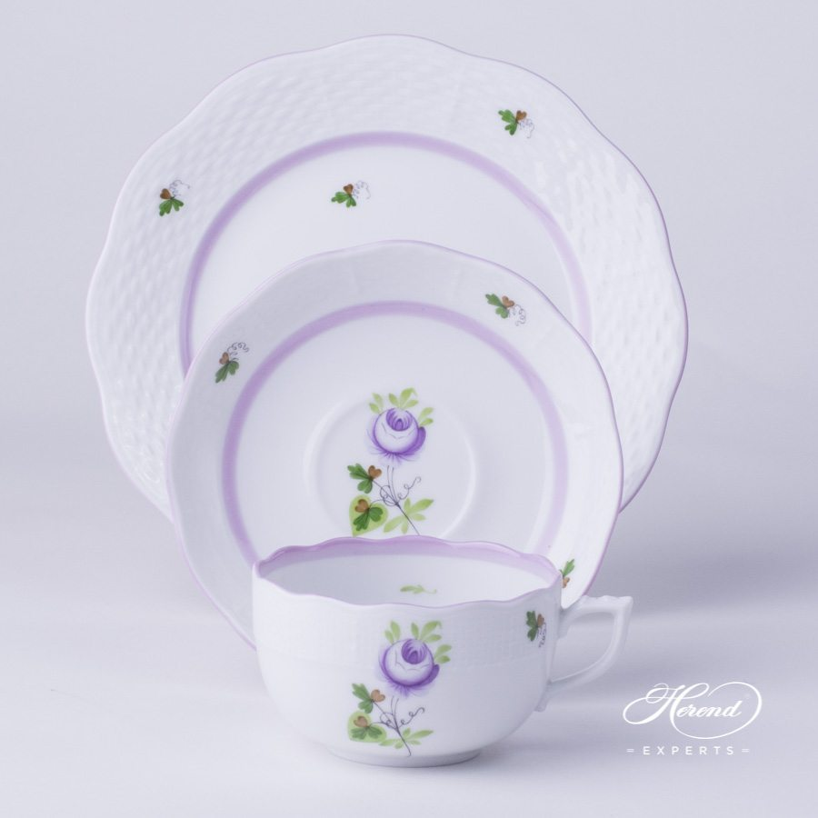Tea Cup 724-0-00 VRHL with Dessert Plate 517-0-00 VRHL Vienna Rose Lilac pattern - Herend porcelain hand painted.