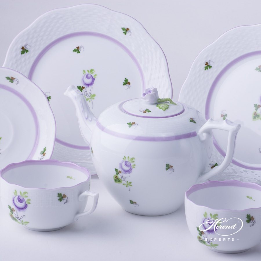 Tea Set for 2 Persons Vienna Rose VRHL Lilac pattern - Herend porcelain hand painted.