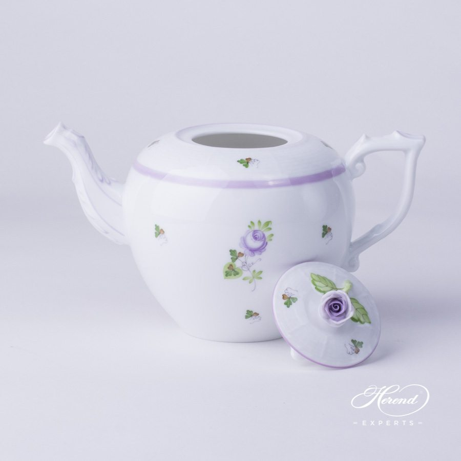 Tea Pot w. Rose Knob 606-0-09 VRH Vienna / Viennese Rose Lilac pattern. Herend fine china hand painted