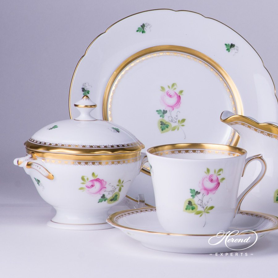 Tea Set for 2 Persons - Herend Vienna / Viennese Rose Special Gold VRH-OR-X1 pattern. Herend fine china hand painted