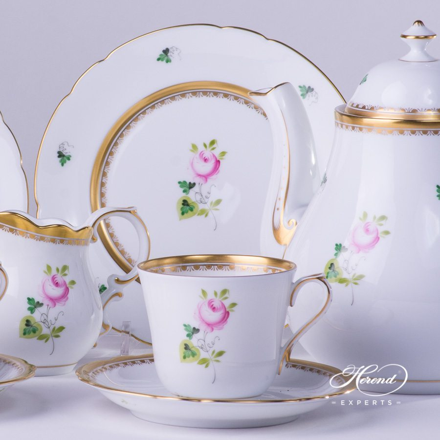 Tea Set for 2 Persons Vienna Rose VRH-OR-X1 Special Gold pattern - Herend porcelain hand painted.