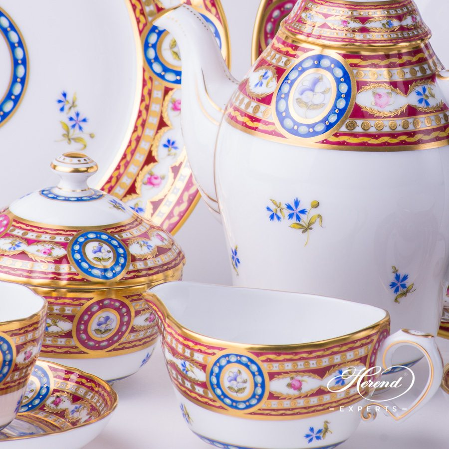 Coffee / Espresso Set for 2 People - Herend Silk Brocade / Eglantine EGAVT design. Herend fine china