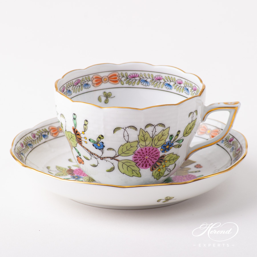 Tea Cup /CoffeeCup w.Saucer730-0-00 FD Indian Basket Multicolor pattern. Herend fine china hand painted. Classical style tableware