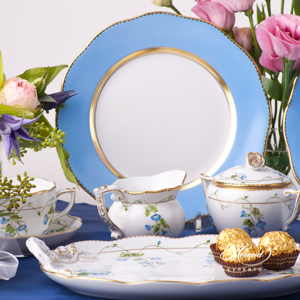 Tea Set for 2 Persons withBlue Dessert Plates - Herend Nyon / Morning Glory design. Herend fine china tableware. Hand painted