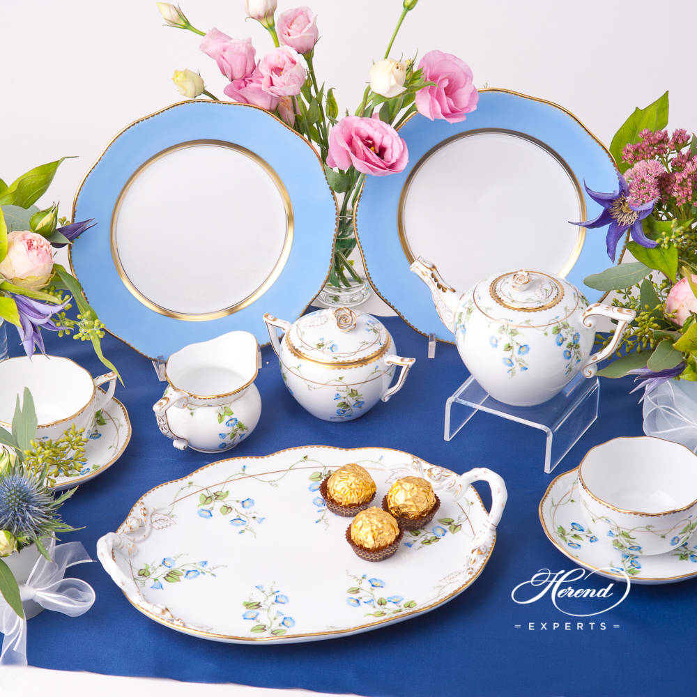 Tea Set for 2 Persons with Blue Dessert Plates - Herend Nyon / Morning Glory design. Herend fine china tableware. Hand painted