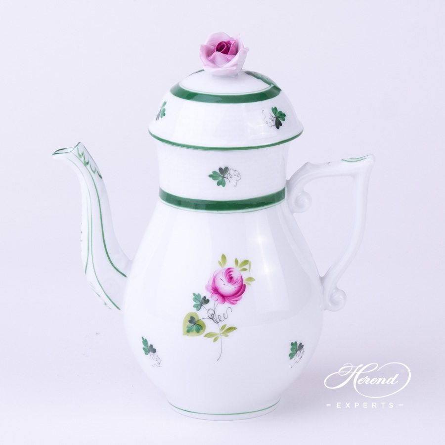 Coffee Pot 614-0-09 VRH Vienna Rose Green pattern. Herend porcelain hand painted