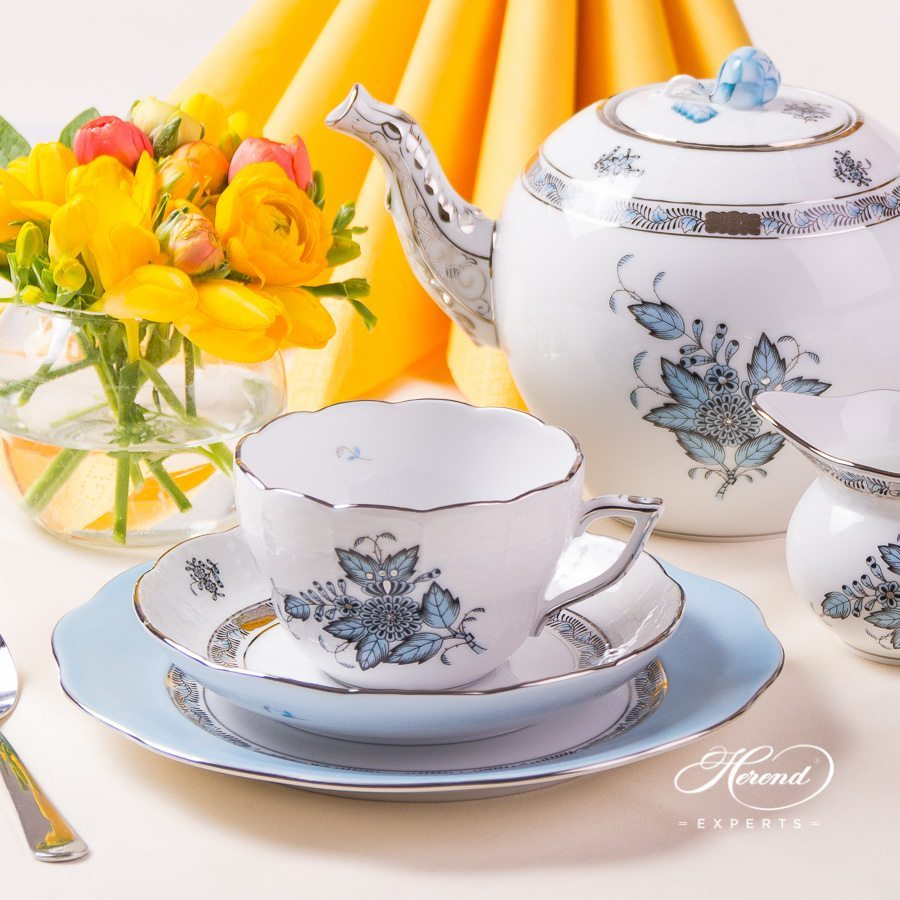 Tea Set for 2 Persons Apponyi or Chinese Bouquet Turquoise ATQ3-PT pattern - Herend porcelain hand painted.