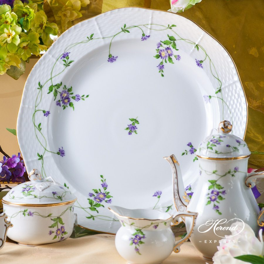 Coffee Set for 2 Persons - Herend Imola Flower Lilac IA design. Herend fine china tableware