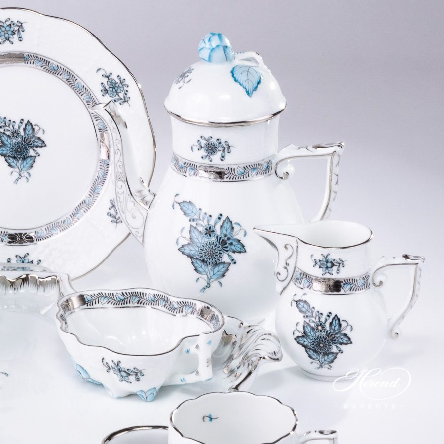 Mocha (Coffee) Set for 4 Persons Apponyi Turquoise - ATQ3-PT pattern - Herend porcelain hand painted.