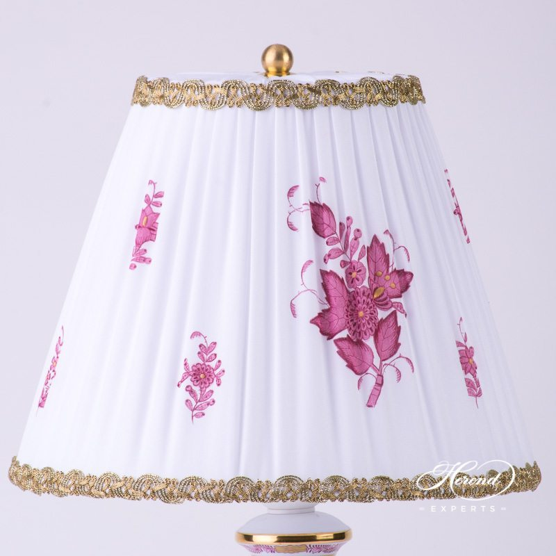 Small Lamp w. Silk Shade 6739-9-00 AP Chinese Bouquet Raspberry / Apponyi Purple design. Herend hand painted fine china. Table Lamp
