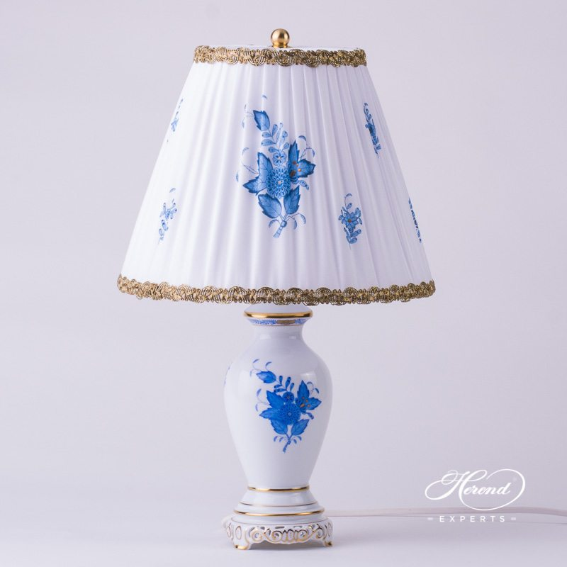 Lamp, small with Shade 6739-9-00 AB Apponyi - Chinese Bouquet Blue pattern - Herend hand painted porcelain.
