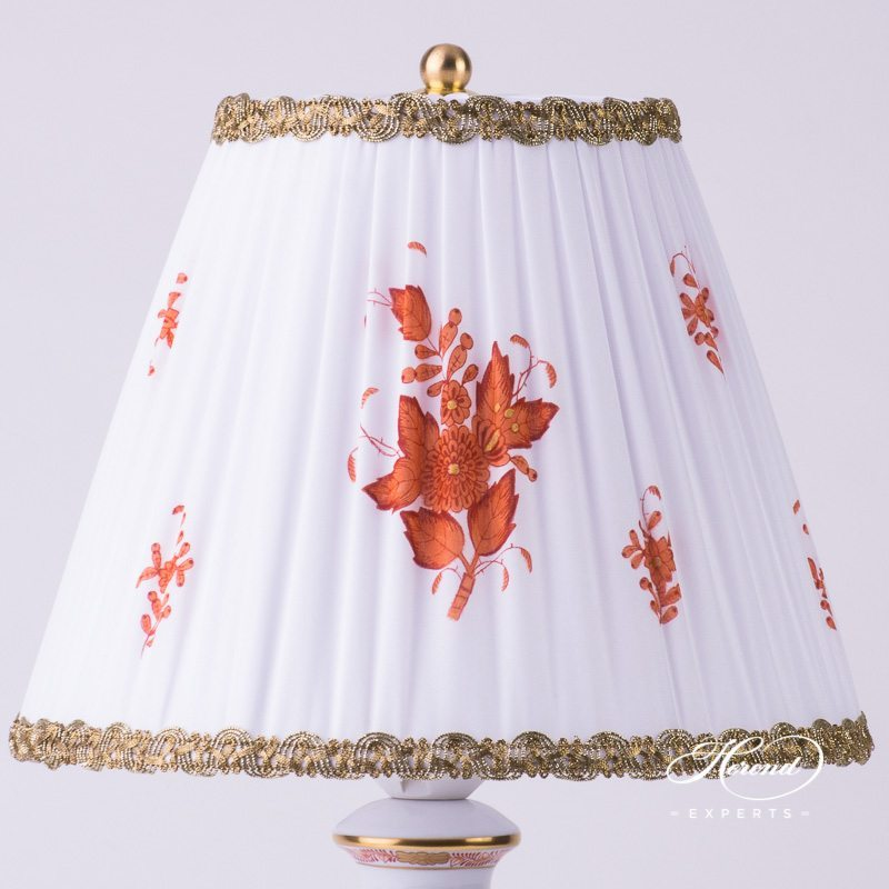 Small Lamp with Shade 6739-9-00 AOG Chinese Bouquet Rust / Apponyi Orange decor. Herend porcelain hand painted