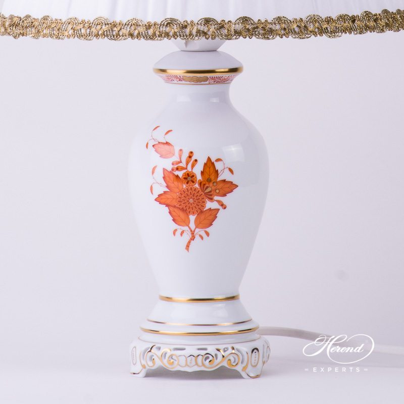 Small Lamp w. Silk Shade 6739-9-00 AOG Chinese Bouquet Rust / Apponyi Orange design. Herend hand painted fine china. Table Lamp