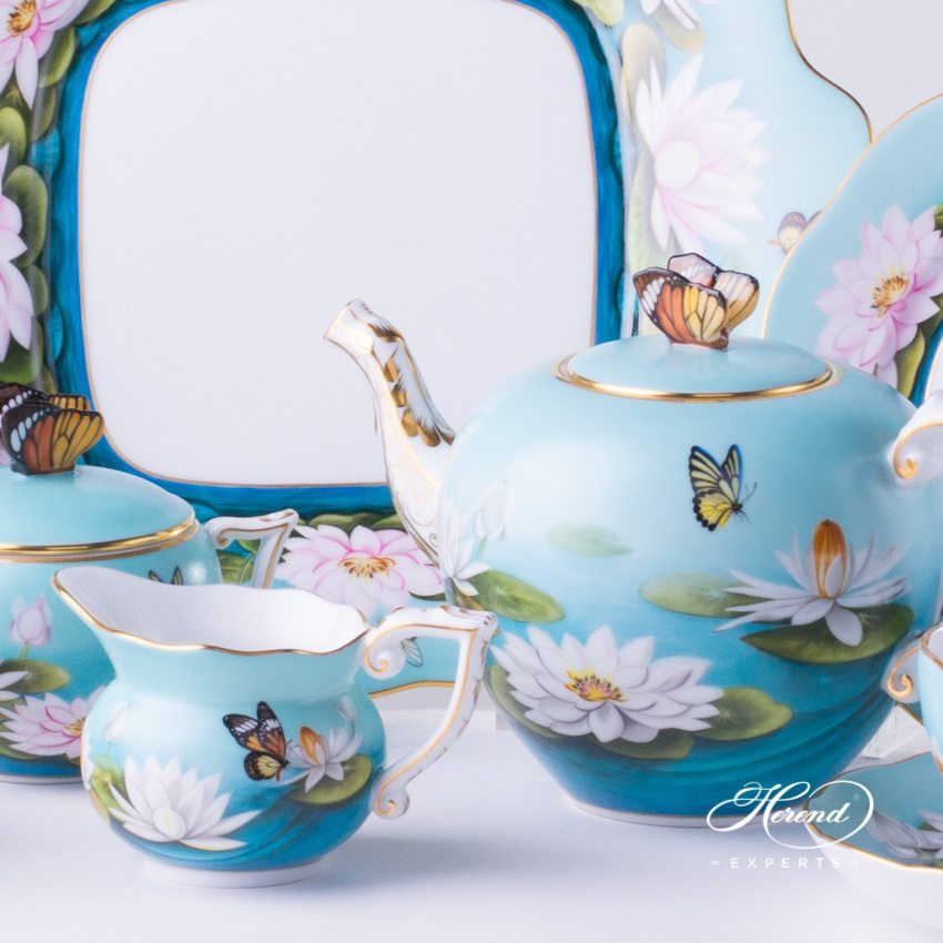 Tea Set for 2 Persons Special Water Lily pattern - Herend porcelain hand painted.