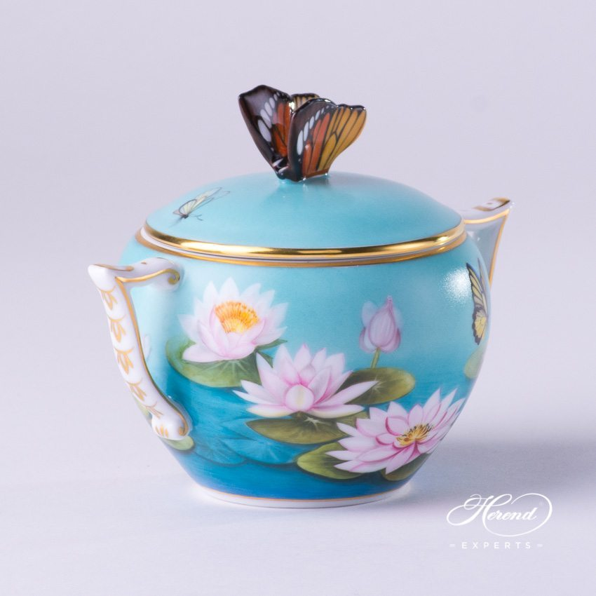 Sugar Basin with Butterfly Knob 20472-0-17 Water Lily pattern - Herend porcelain hand painted.