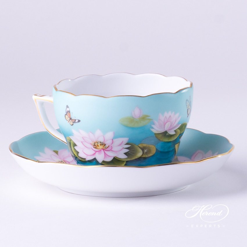 Tea / Coffee Cup with Saucer 20730-0-00 Water Lily / Lotus Flower - Pink design. - Herend fine china tableware. Hand painted