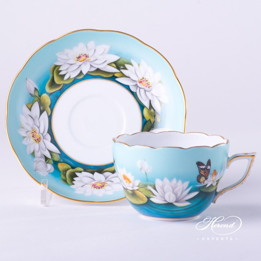 Tea Cup (Coffee Cup) with Saucer 20730-0-00 Water Lily White pattern - Herend porcelain hand painted.