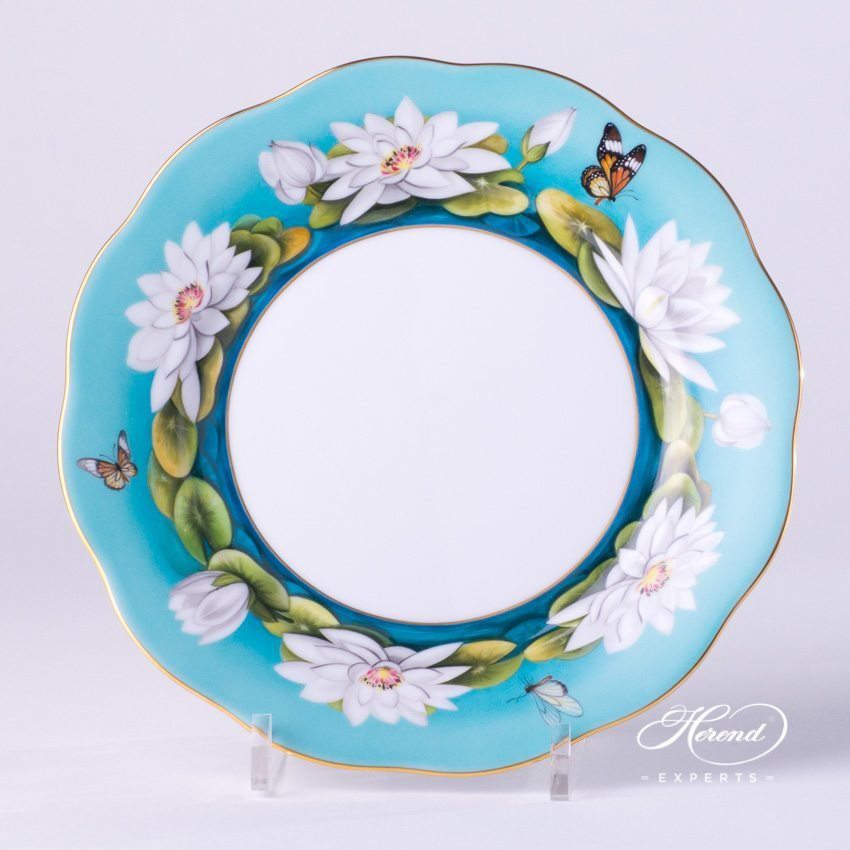 Dessert Plate 20517-0-00 Water Lily White pattern - Herend porcelain hand painted.