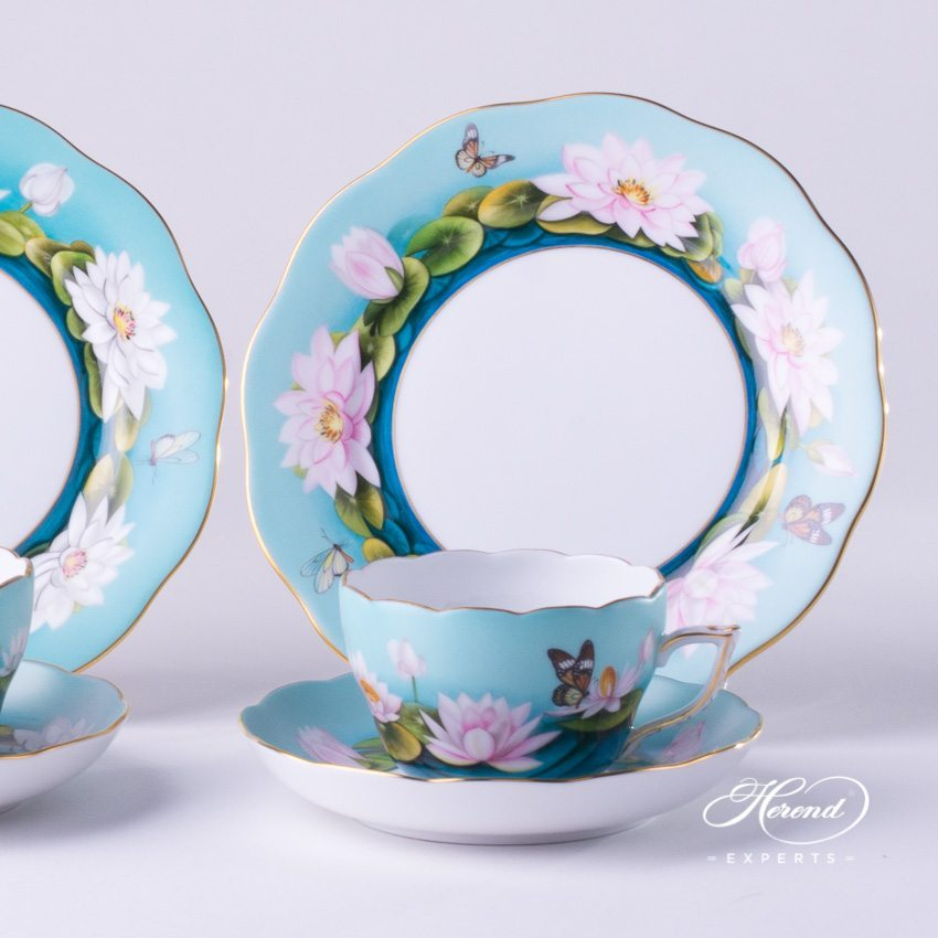 Tea Set Small for 2 Persons: 20730-0-00 Tea Cup and 20517-0-00 Dessert Plate for 2 Persons Water Lily pattern - Herend porcelain.