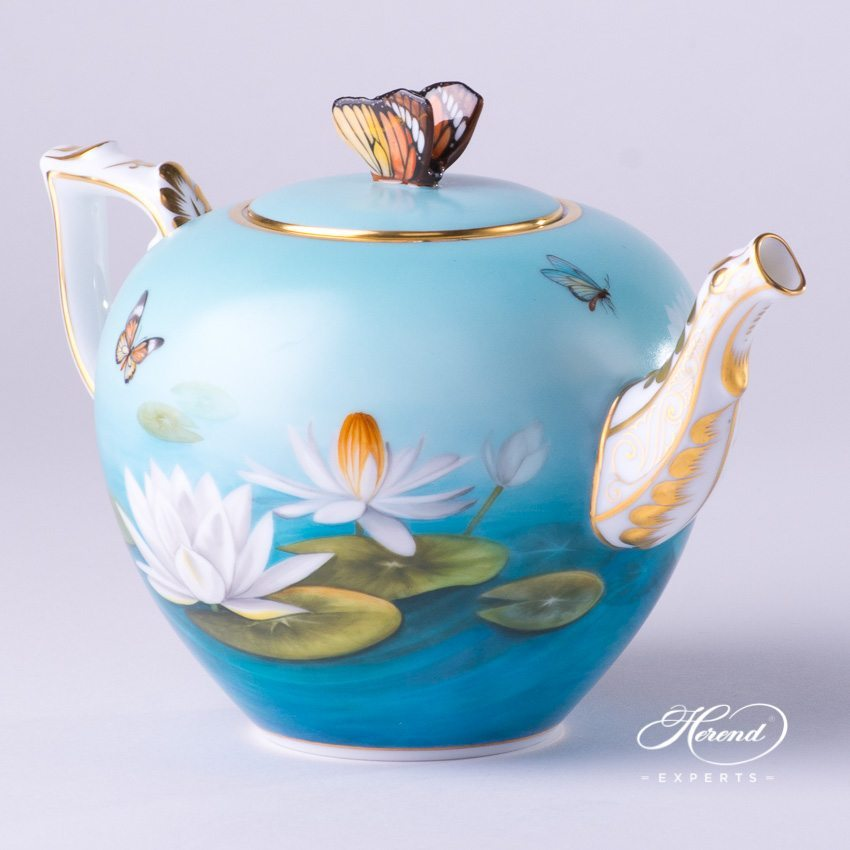 Tea Pot with Butterfly Knob 20606-0-17 Water Lily pattern. Herend porcelain hand painted
