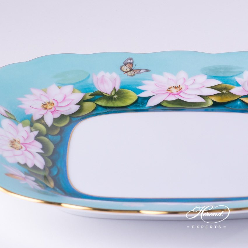 Cake Plate 20431-0-00 Water Lily pattern - Herend porcelain hand painted.
