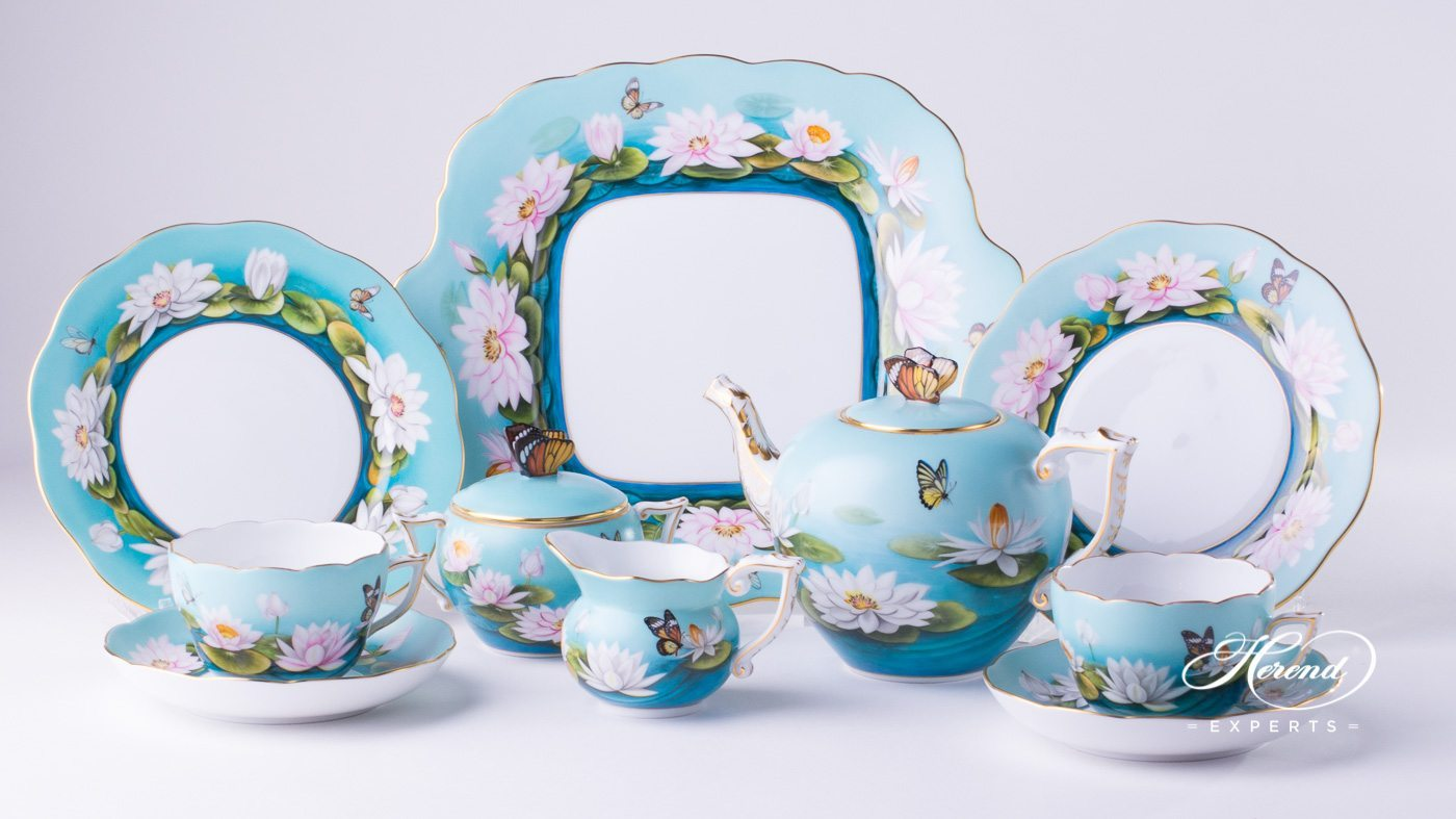 Tea Set for 2 Persons u2013 Water Lily. Water Lily - Lotus Flower ... : lotus flower dinnerware - pezcame.com