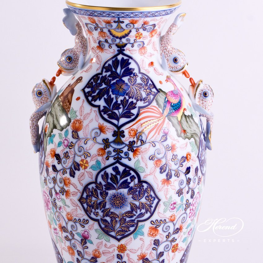 Medium Imari Vase with Dolphin Handle 6676-0-00 SP481 Special pattern - Herend porcelain hand painted.