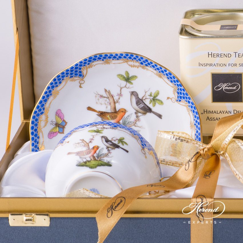 Tea Cup with Saucer for 2 Persons in Gift Box 724-0-00 RO-ETB Rothschild Bird pattern - Herend porcelain hand painted.