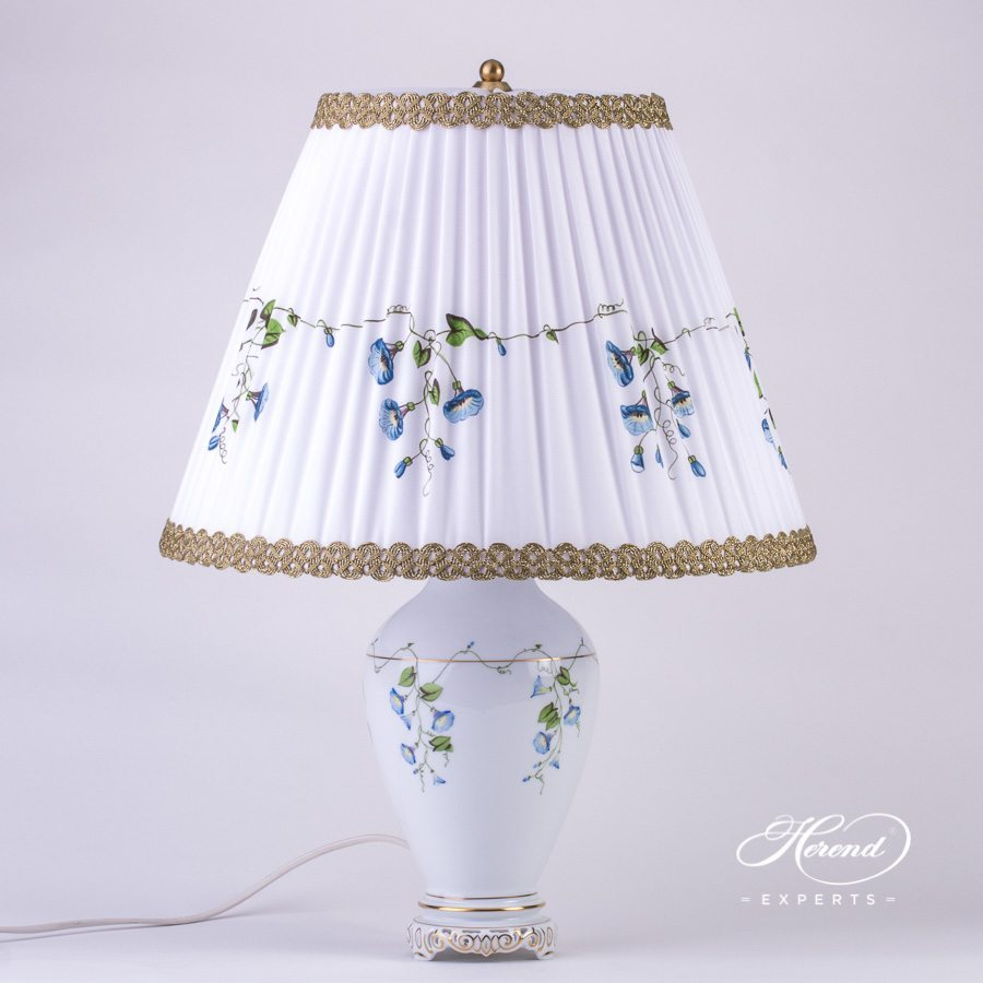 Medium Lamp with Shade 6738-9-00 NY Nyon / Morning Glory design. Herend Vase Lamp with Silk Shade. Herend fine china tableware. Hand painted