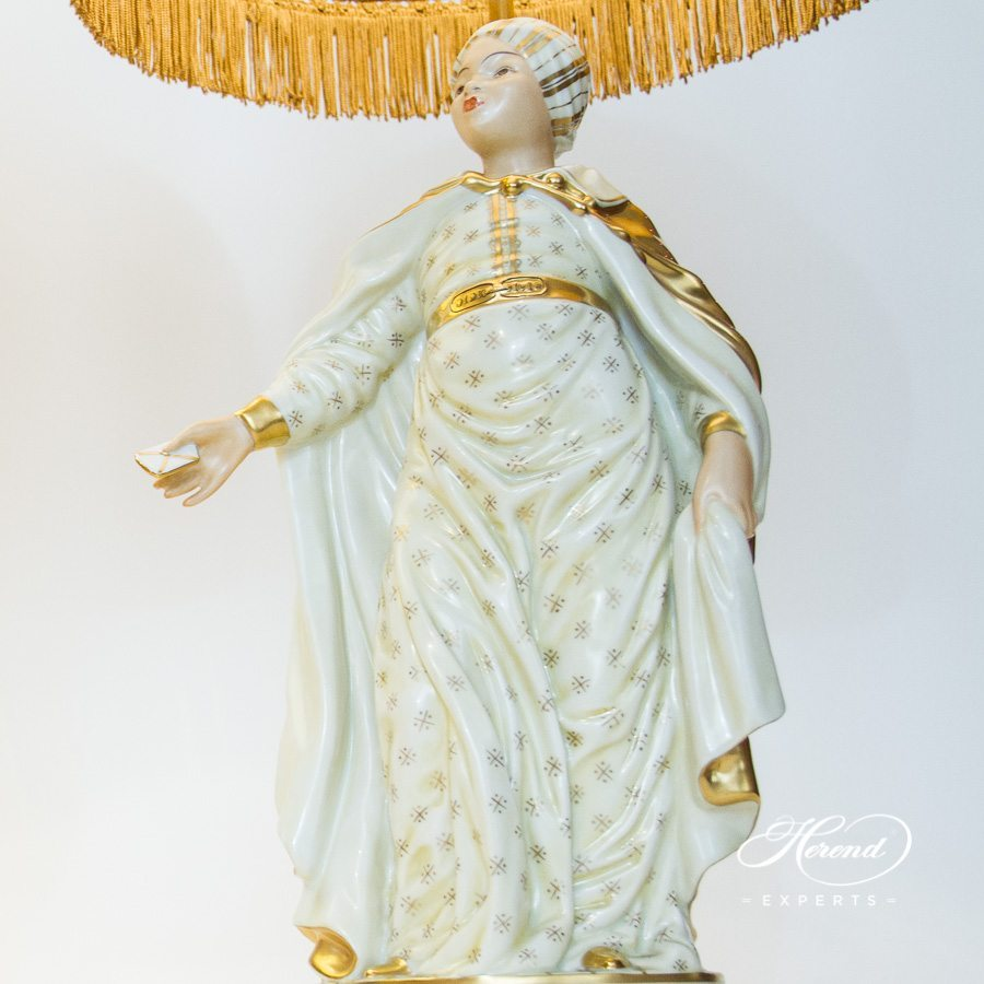 Lamp w. Lady Figurine 5767-9-00 C-1 Special pattern. Herend fine china hand painted. Classic Lamp w. Silk Shade