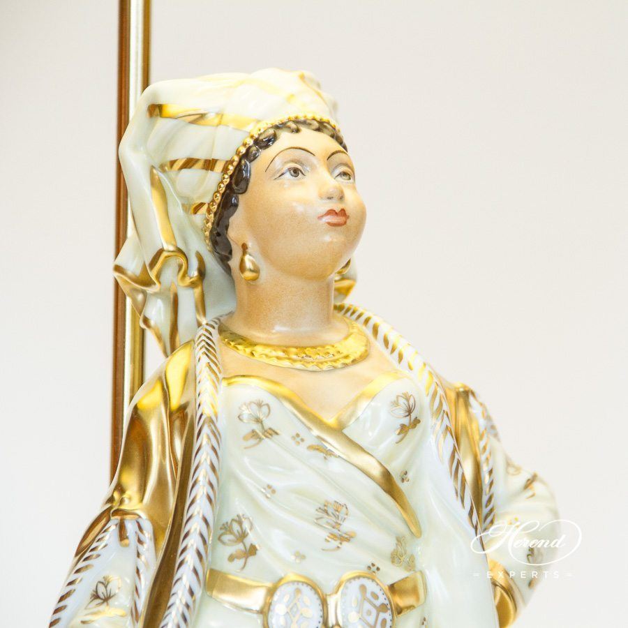 Lamp w. Lady Figurine 5766-9-00 C-1 Special pattern. Herend fine china hand painted. Classic Lamp w. Silk Shade