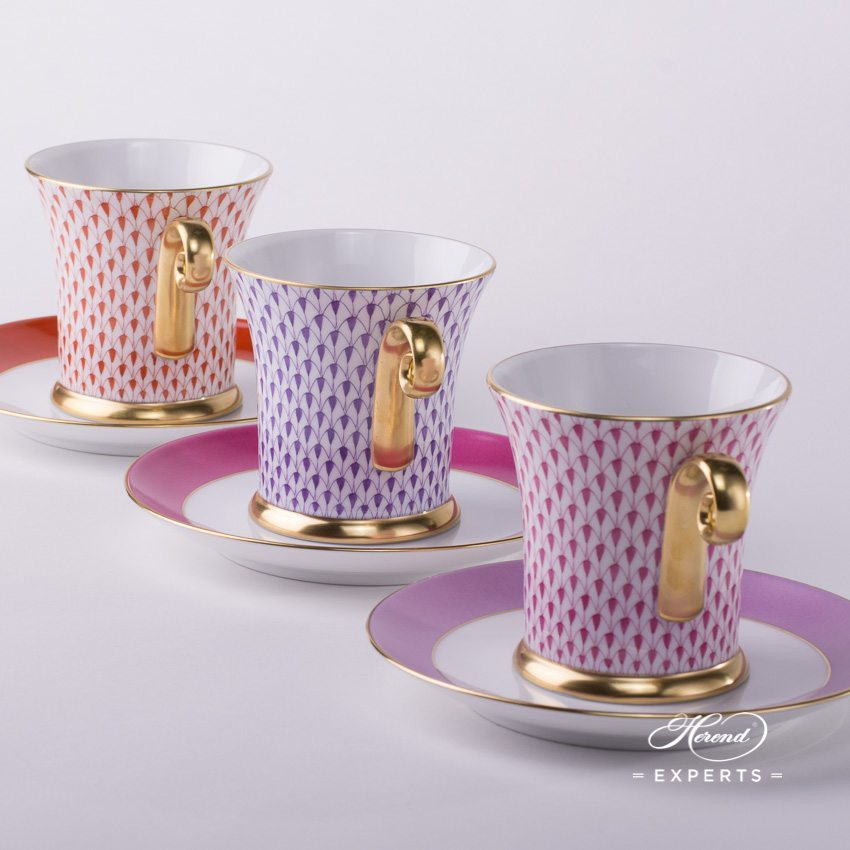 Tea Cup and Saucer 4917-0-00 VH Red and VHL Lilac and VHP Pink Fishnet patterns - Herend porcelain hand painted.