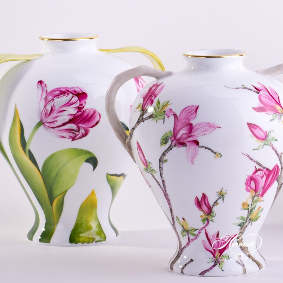 Vase with Tulip 7126-0-00 C and Vase with Magnolia 7127-0-00 C Naturalistic pattern - Herend porcelain hand painted.