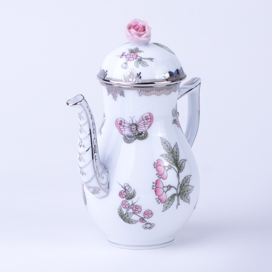 Coffee Pot w. Rose Knob 614-0-09 VBOG-X1-PT Queen Victoria Platinum pattern. Herend fine china hand painted