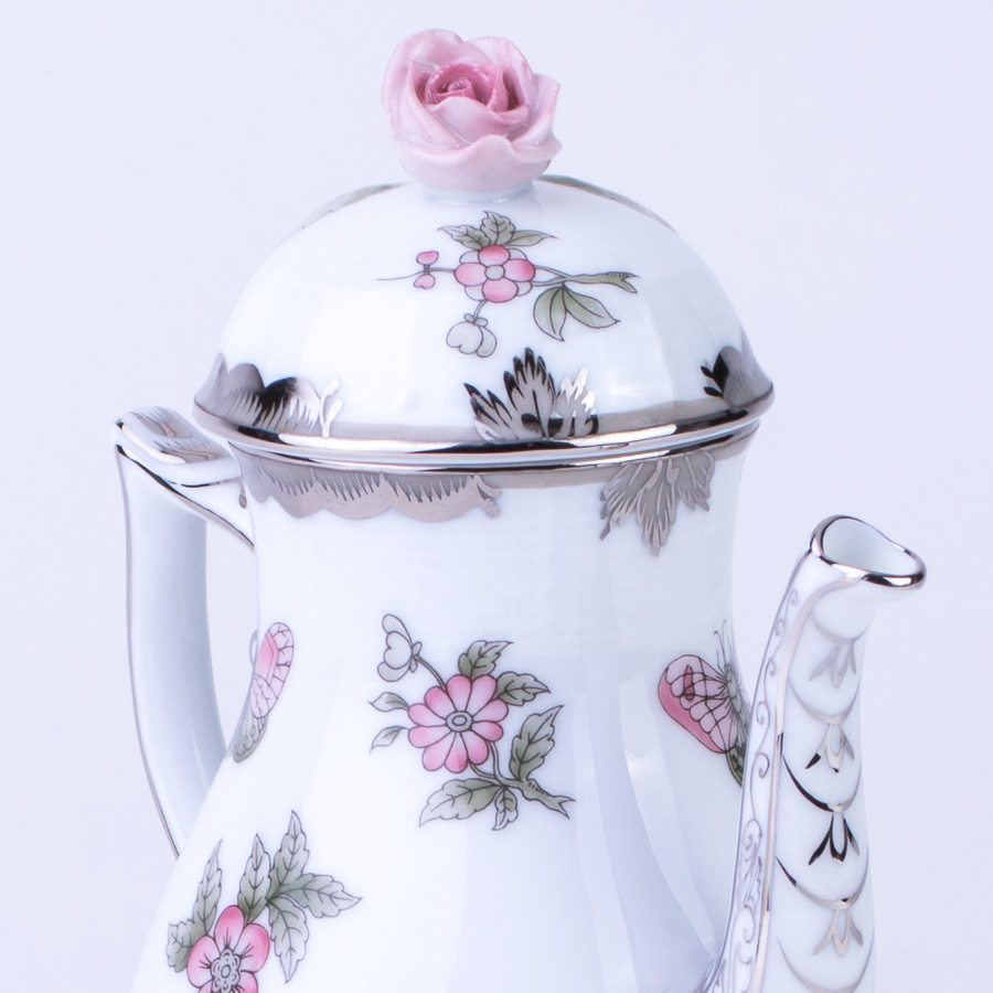 Coffee Pot with Rose Knob 614-0-09 VBOG-X1-PT Queen Victoria Platinum pattern - Herend porcelain hand painted.