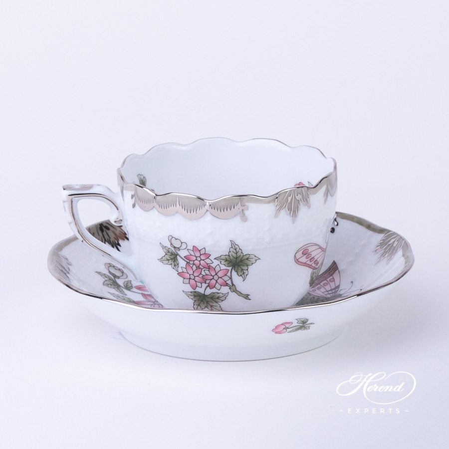 Mocha Cup and Saucer 711-0-00 VBOG-X1-PT Queen Victoria Platinum pattern - Herend porcelain hand painted.