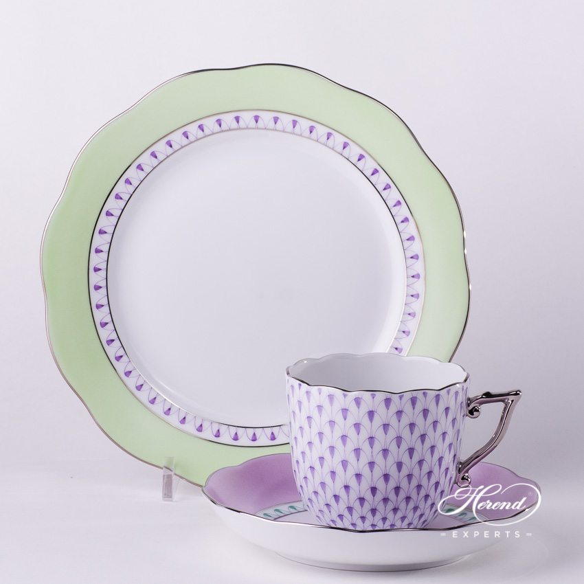 Mini Breakfast Set VHL-PT Lilac+Green pattern - Herend porcelain hand painted.