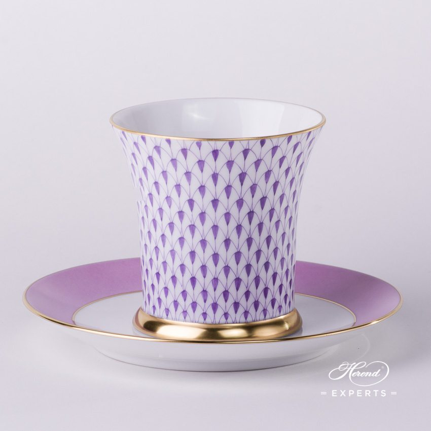 Tea Cupw.Saucer 4917-0-00 VHL Lilac Fish Scale pattern. Herend fine china