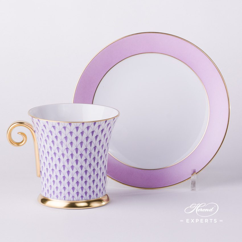 Tea Cup and Saucer 4917-0-00 VHL Lilac Fishnet pattern - Herend porcelain hand painted.