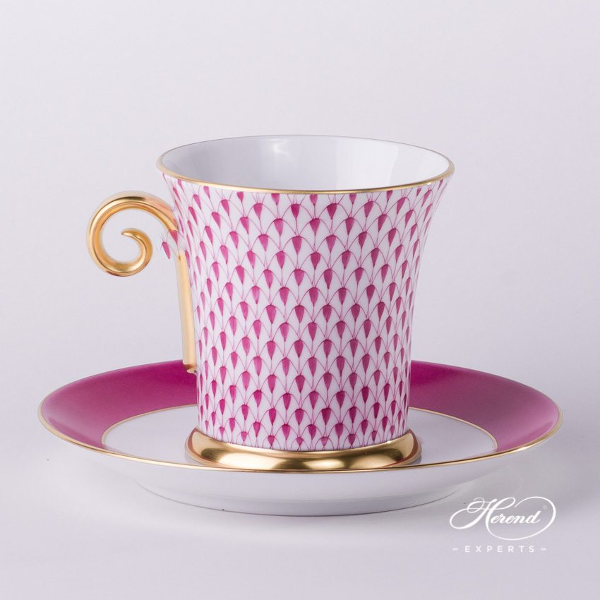Tea Cup and Saucer 4917-0-00 VHP Pink Fishnet pattern - Herend porcelain hand painted.