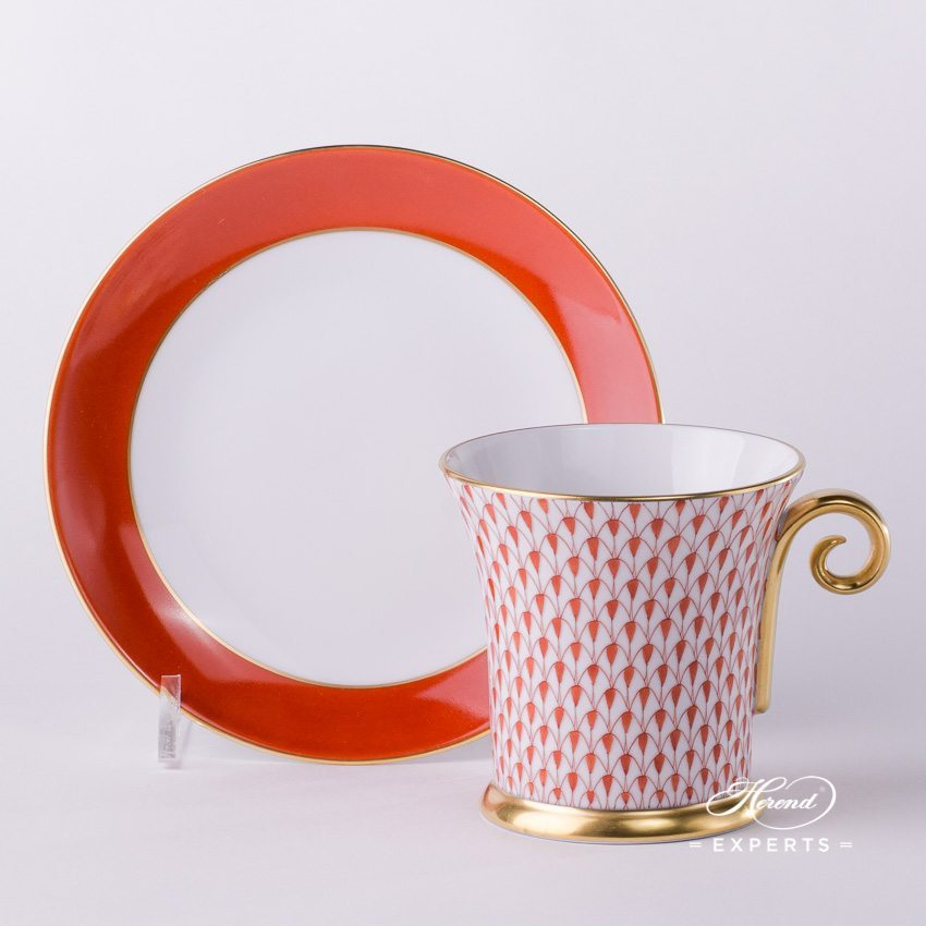 Tea Cup and Saucer 4917-0-00 VH Red Fishnet pattern - Herend porcelain hand painted.