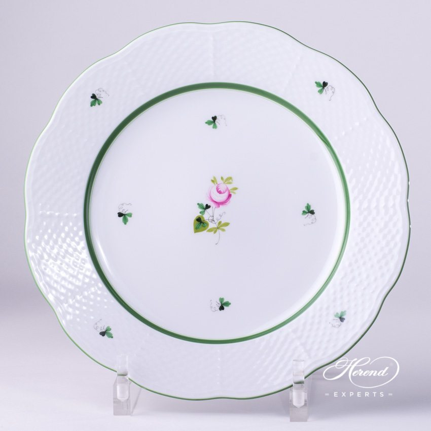 Serving / Dinner Plate 527-0-00 VRH Vienna Rose Green pattern. Herend fine china hand painted