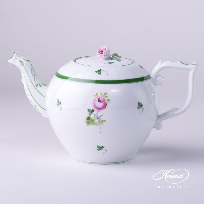 Tea Pot w. Rose Knob 606-0-09 VRH Vienna / Viennese Rose Green pattern. Herend fine china hand painted
