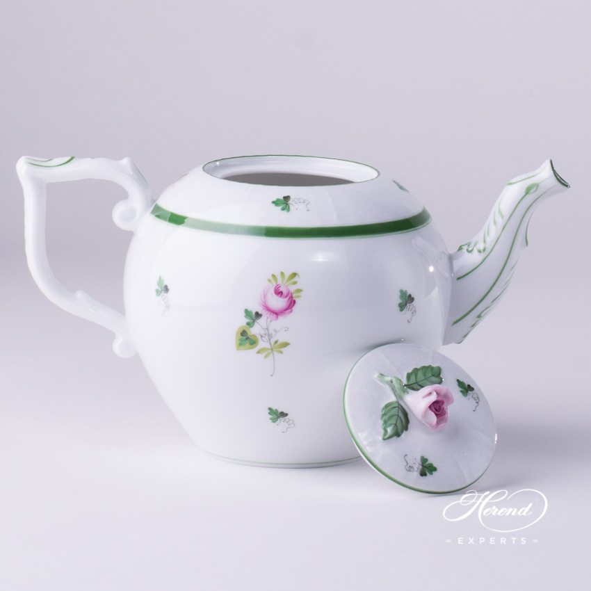 Tea Pot with Rose Knob 606-0-09 VRH Vienna Rose pattern. Herend porcelain hand painted