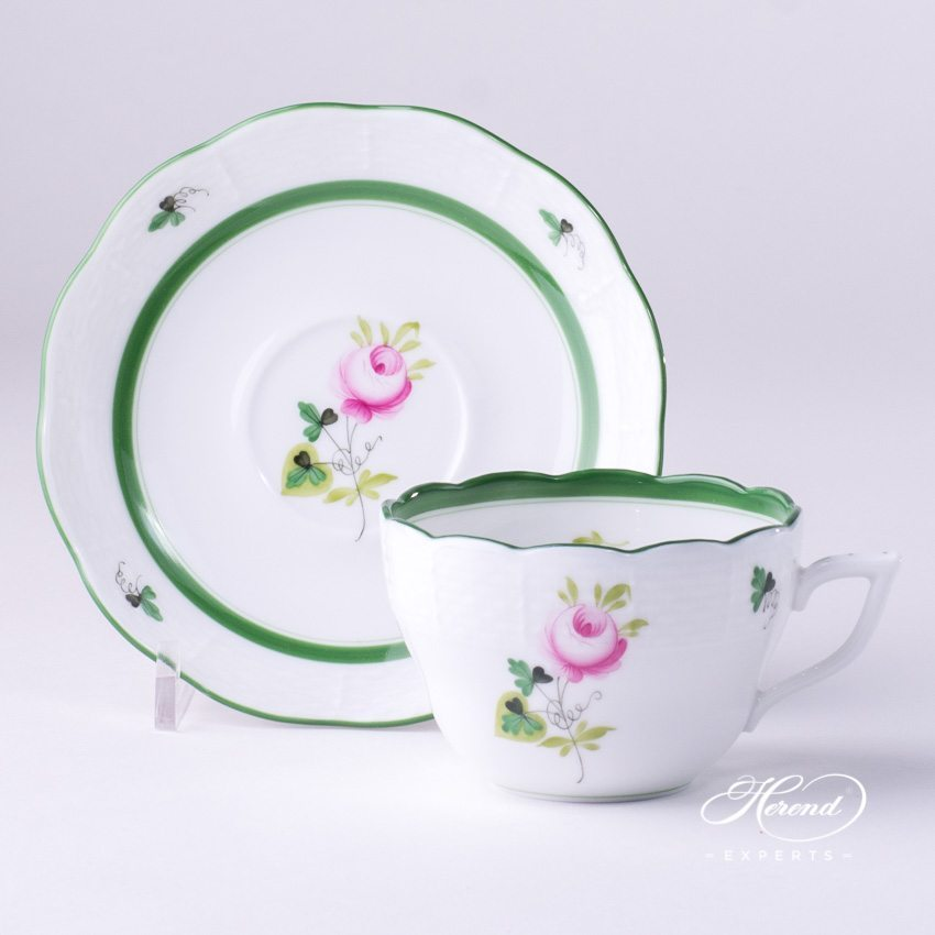 Tea (Coffee) Cup with Saucer 730-0-00 VRH Vienna Rose pattern - Herend porcelain hand painted.