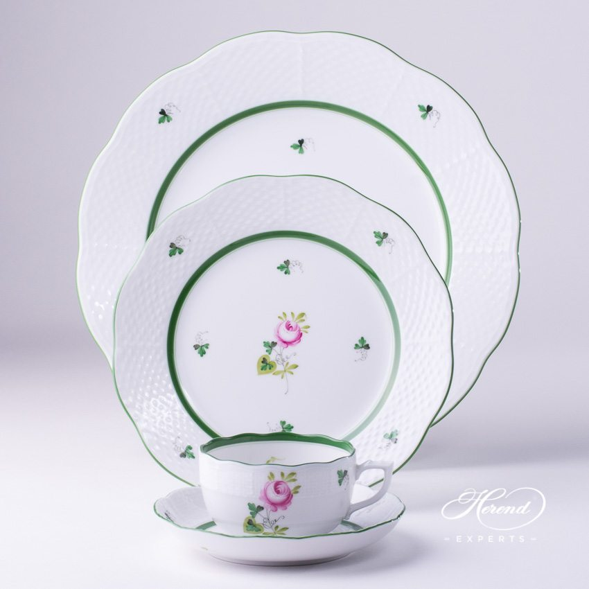 Place Setting 4 Piece Vienna Rose VRH pattern - Herend porcelain hand painted.
