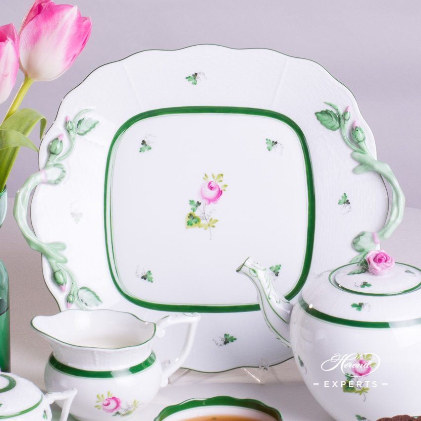 Tea Set with Cake Plate for 2 Persons Vienna Rose VRH pattern - Herend porcelain hand painted.