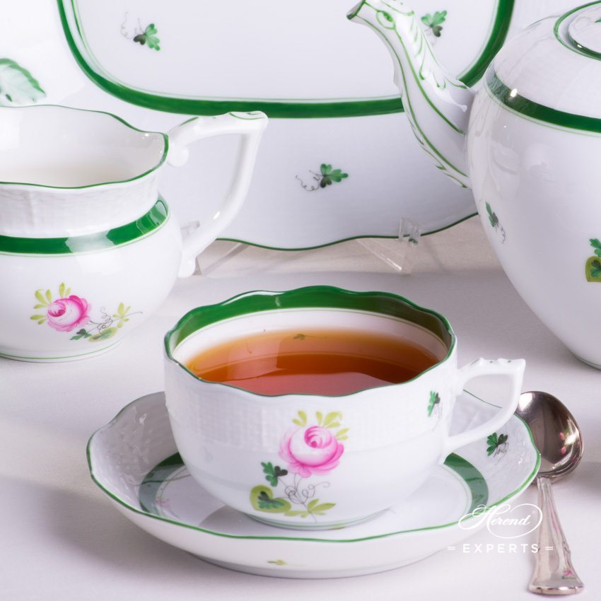 Tea Set for 2 Persons w. Cake Plate - Herend Vienna Rose / Viennese Rose Green VRH pattern. Herend fine china hand painted