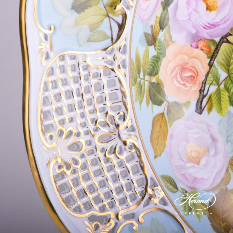 Wall Plate large - Rose Garden 8438-0-50 SP868 Special pattern - Herend porcelain hand painted.